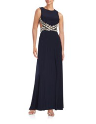 Betsy And Adam Embellished Backless Gown Navy White