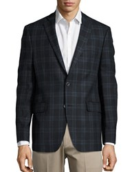 Black Brown Plaid Woolen Jacket Charcoal