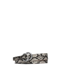 Michael Kors Double Ring Python Belt Taupe