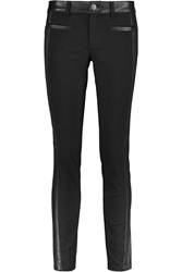 Tory Burch Harlow Leather Paneled Low Rise Skinny Jeans Black