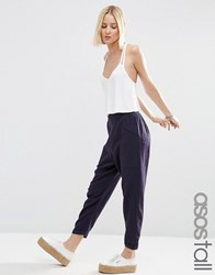 Asos Tall Patch Pocket Linen Peg Trousers Navy