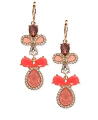 Nine West Gold Tone Pink Stone Pave Chandelier Earrings
