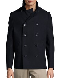 Black Brown Wool Blend Peacoat Dark Navy