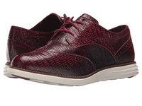 Cole Haan Original Grand Wingtip Beet Red Snake Print Optic White Women's Lace Up Wing Tip Shoes Burgundy