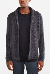 Your Neighbors Striped Knit Shawl Cardigan Navy