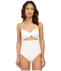Michael Kors Drapey Jersey Strappy Cross Back Tie Front Maillot White Women's Swimsuits One Piece