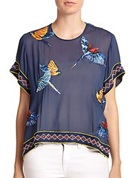 Elle Sasson Beaded Parrot Patterned Sheer Cotton Top Navy