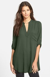Junior Women's Lush 'Perfect' Roll Tab Sleeve Tunic New Olive