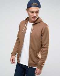New Look Zip Through Hoodie In Camel Camel Beige