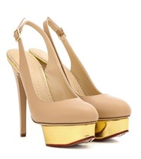 Charlotte Olympia Dolly Slingback Platform Pumps Neutrals