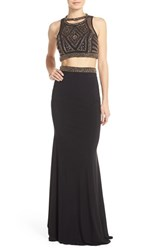 Women's Faviana Embellished Mesh And Jersey Two Piece Gown