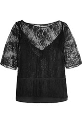 Maje Fringed Leavers Lace Top Black