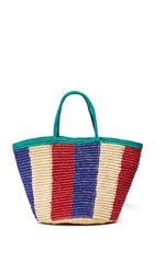 Sensi Studio Tricolor Woven Tote Natural Red Royal Blue