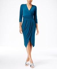 Rachel Roy Banded Jersey Faux Wrap Dress Teal