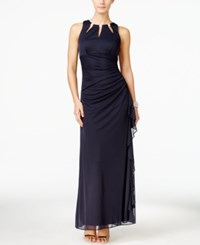 Betsy And Adam Embellished Keyhole Ruched Gown Navy
