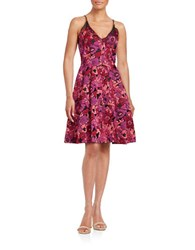 Badgley Mischka Floral Jacquard Fit And Flare Dress Berry Multi
