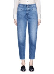 Closed 'Pedal Icon '85' Frayed Cuff Cropped Denim Pants Blue