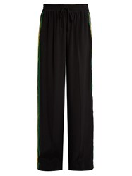 Serena Bute Wide Leg Crepe De Chine Drawstring Trousers Black Multi