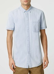 Topman Bleach Wash Denim Short Sleeve Casual Shirt Blue