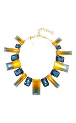 Oscar De La Renta Two Tone Resin Necklace Navy