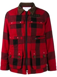 White Mountaineering Patch Pocket Flannel Jacket Red