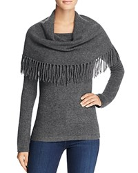 Minnie Rose Fringe Cowl Cashmere Sweater Charcoal
