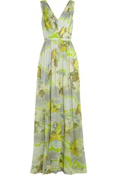 Matthew Williamson Printed Silk Chiffon Gown Yellow