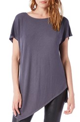Michael Stars Women's Asymmetrical Ribbed Short Sleeve Tunic Oxide