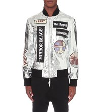 Blood Brother Modules Leather Bomber Jacket Silver