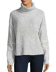 California Moonrise Zip Accented Cowlneck Sweater Grey