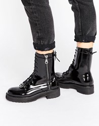 Mango Lace Up Worker Boot Black