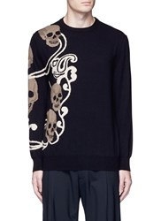 Alexander Mcqueen Skull Paisley Intarsia Wool Cashmere Sweater Black