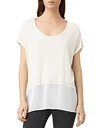 Allsaints Amie Color Block Tee Smog White Chalk White
