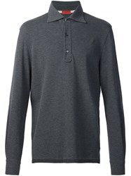 Isaia Long Sleeve Polo Shirt Grey