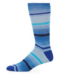Saks Fifth Avenue Mid Calf Cotton Blend Space Dyed Stripe Socks Blue