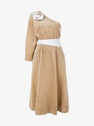 A.W.A.K.E. One Shoulder Corduroy Dress Beige White
