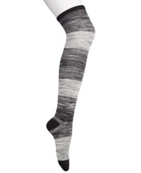 Hue Women's Ribbed Ombre Over The Knee Socks Black