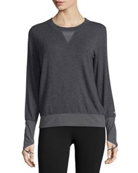 Alo Yoga Serene Mesh Inset Long Sleeve Sport Top Dk H. Grey Black