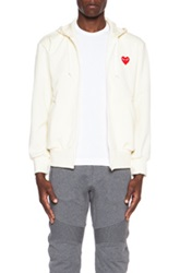 Comme Des Garcons Play Zip Poly Hoodie With Red Emblem In Neutrals