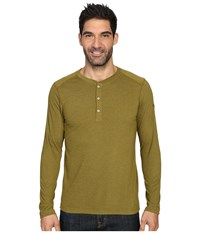 The North Face Long Sleeve Crag Henley Fir Green Dark Heather Men's Clothing Yellow