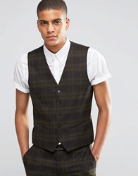 Selected Homme Suit Waistcoat With Check In Skinny Fit With Stretch Khaki Green
