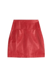 Jil Sander Navy Leather Mini Skirt Red