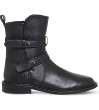 Office Loaded Leather Biker Boot Black Leather