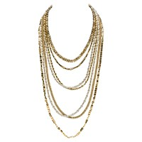 Brass Fusion Multi Strand Brass And Silver Vermeil Necklace 5 Strand