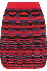 M Missoni Crochet Knit Mini Skirt Red