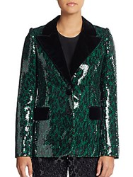 Marc Jacobs Leopard Sequin Two Button Blazer Emerald