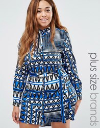 Ax Paris Plus Shirt Dress In Scarf Print Blue