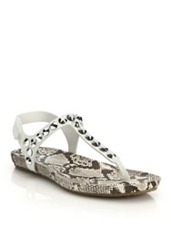 Pedro Garcia Judith Studded Snake Embossed Leather Thong Sandals