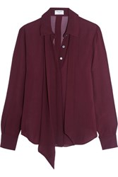 Frame Pussy Bow Silk Chiffon Blouse Grape