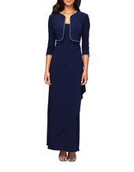 Alex Evenings Jersey Side Draped Gown With Bolero Jacket Navy